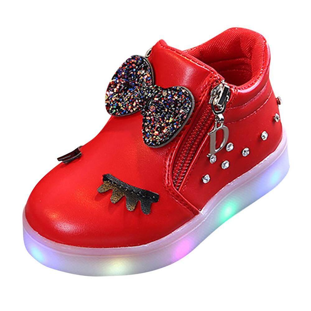 Cocol Max Anak-anak Anak Perempuan Bayi Bayi Ikatan Simpul Kristal LED  Bercahaya Sepatu Bot 94f6bf11e7