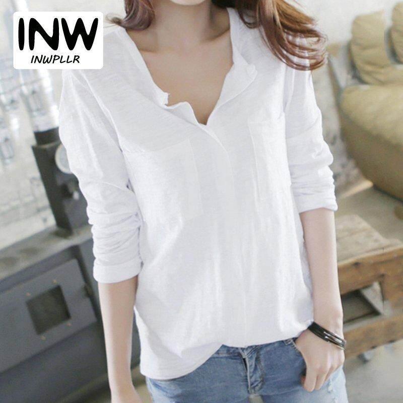 Inwpllr Women T-Shirt Autumn Cotton T-Shirts Female V-Neck Plain Tops Tees Lady Long Sleeve Korean Womenfashion Tshirt By Inwpllr Official Store.