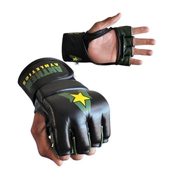 Anthem Athletics PREDATOR MMA Gloves - Training, Kickboxing, 100% Highest Grade Leather - Black, Green & Yellow - - intl