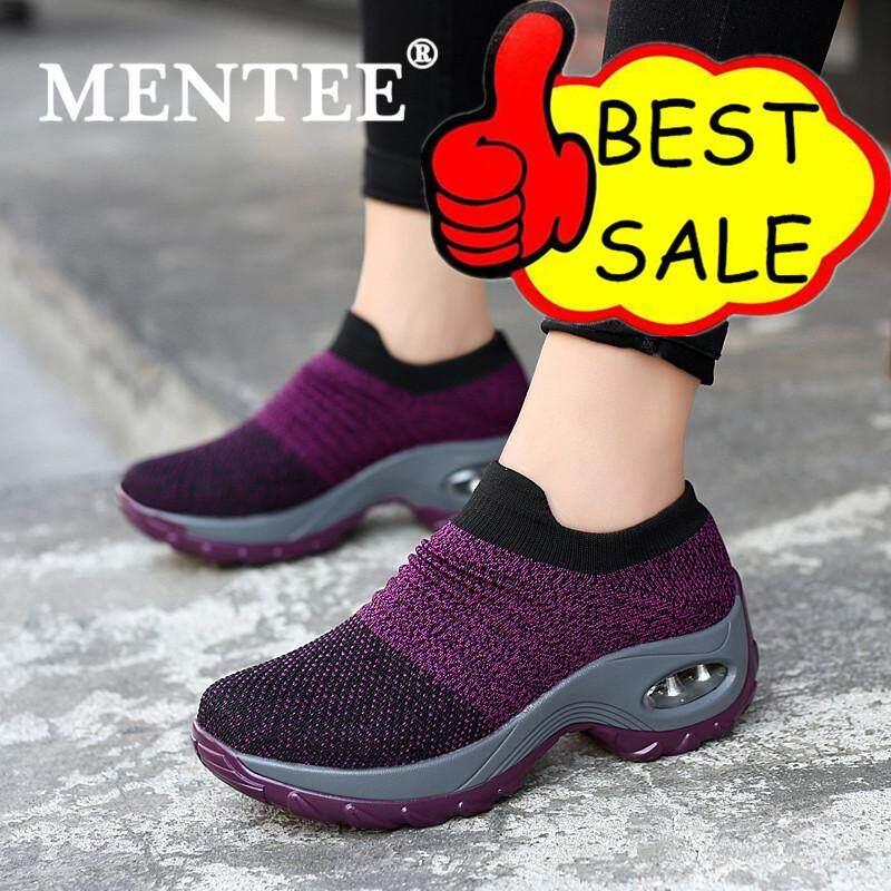 Mentee Ukuran 35-42 Sepatu Wanita Sepatu Kets Bantalan Udara Meningkatkan  Sepatu Slip-On 53316b02c3