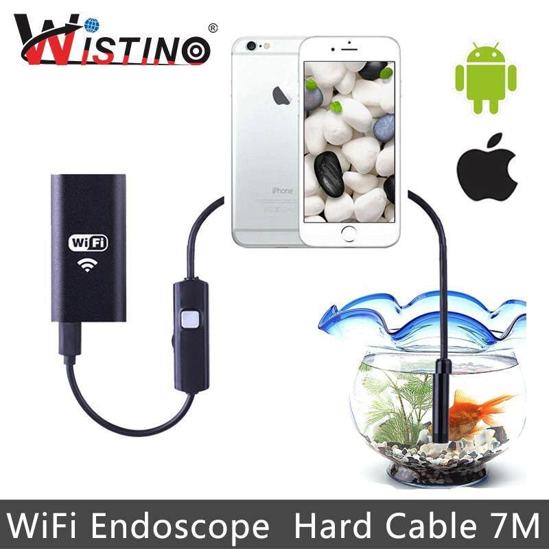 Wistino 8 Mm Endoskop Wifi Hard Kabel 7 Meter Panjang HP Cerdas Mini Kamera Android HD 720 P Pengawasan Tabung Pipa Kabel Endoskopi iPhone Ip67 pemeriksaan