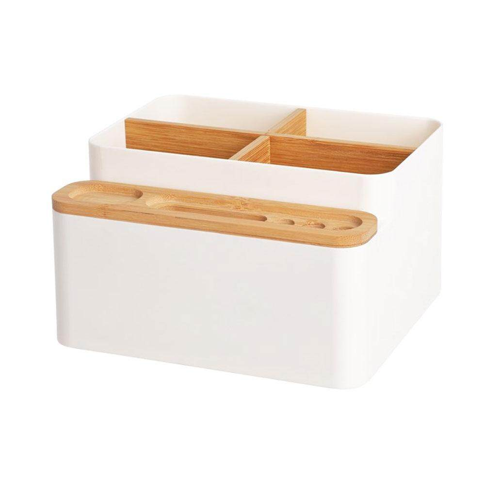 Umiwe Desk Organiser Storage Box Multi-purpose Bamboo Office Desk Tidy Holder Detachable Pen Scissor Phone Notebook Glasses Remote Control Makeup Storage Box