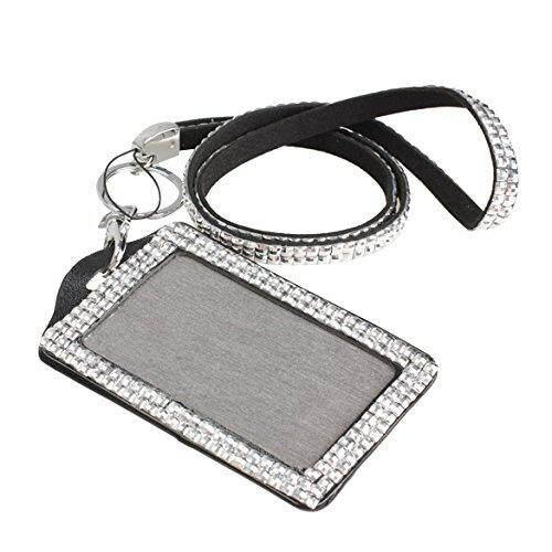 Rhinestone Bling Crystal Custom Lanyard Vertical ID Badge Holder (Silver) - intl