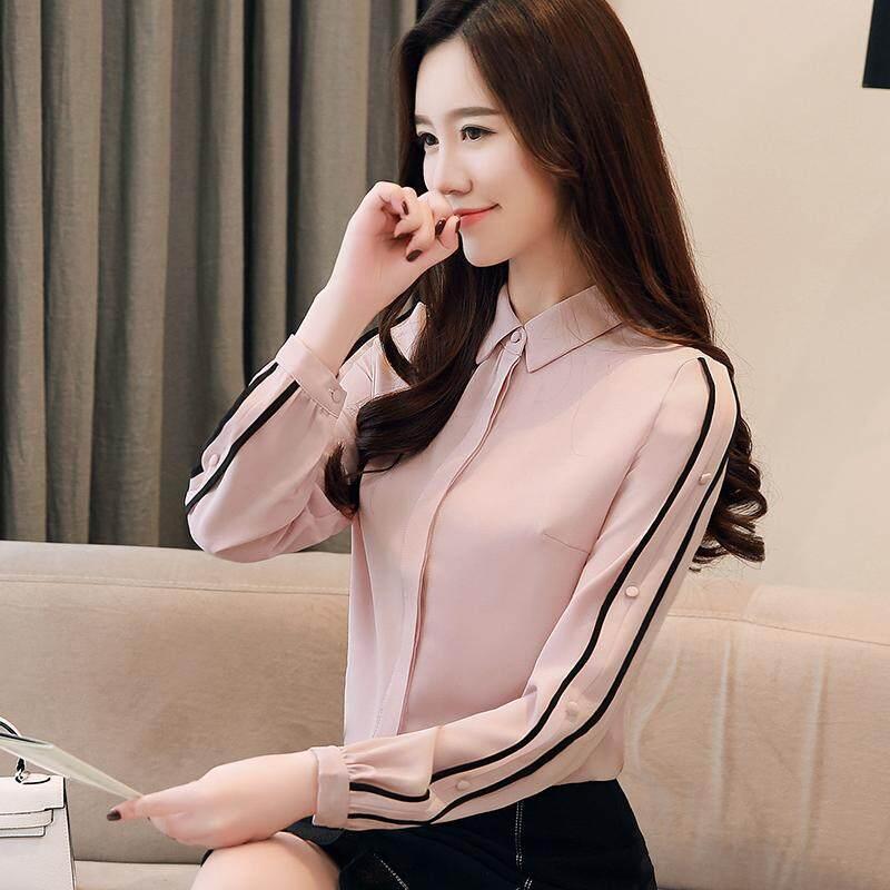 Wanita Lengan Panjang Ladie Kemeja Sifon Elegan Baru Versi Korea dari Kemeja Longgar Awal Blus Musim