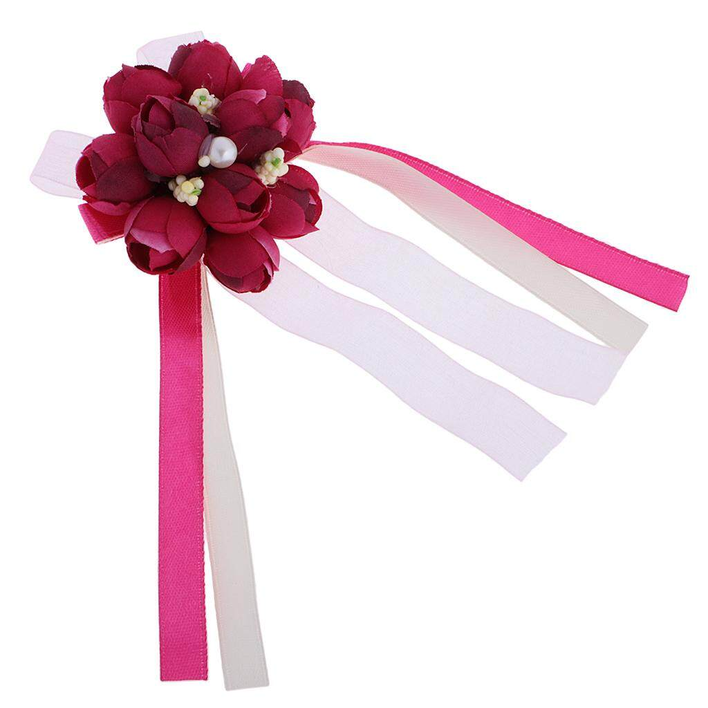 GuangquanStrade Wedding Groom Bride Boutonniere Corsage Flower Brooch Pin Ribbon Wine Red