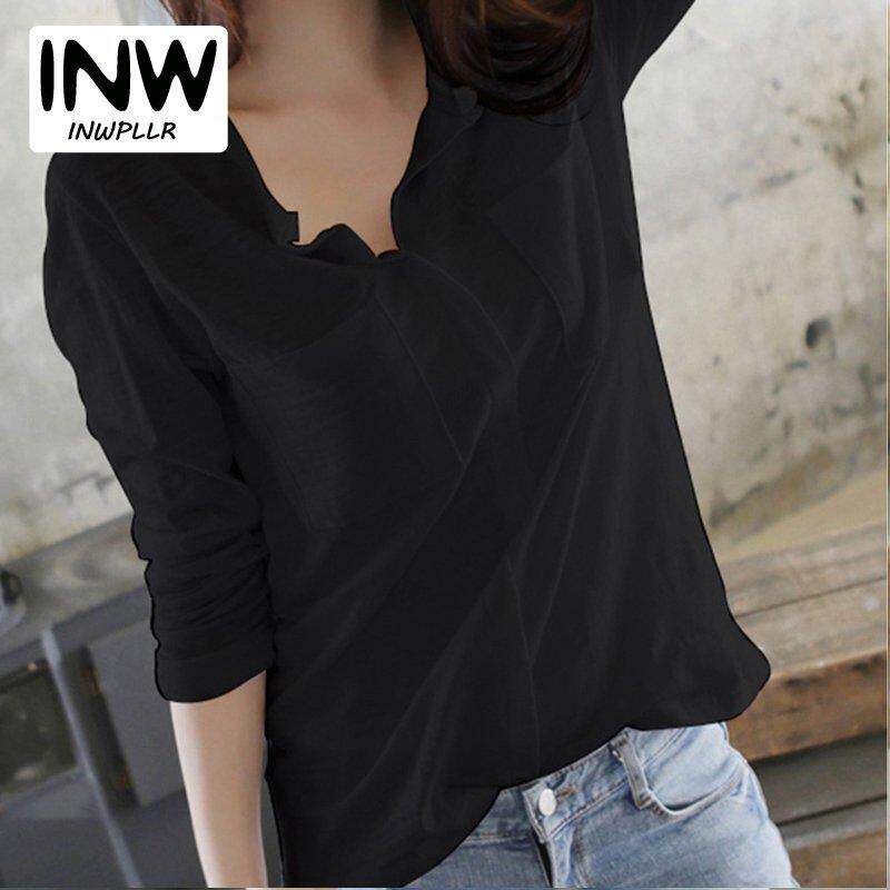 588fb7a1ebb0 INWPLLR Women T-shirt Autumn Cotton T-shirts Female V-Neck Plain Tops