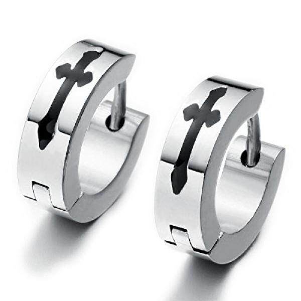 Sirius Jewelry Mens Womens Multi Color Cross Huggies Hoop Earrings Set (Black Silver) - intl
