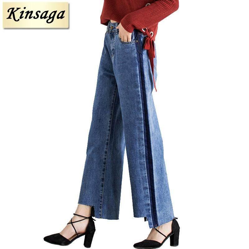 Kinsaga Ukuran Plus Sisi Garis Lebar Kaki Biru Celana Jeans Capri 4XL 7XL Kebesaran Rumbai Tidak