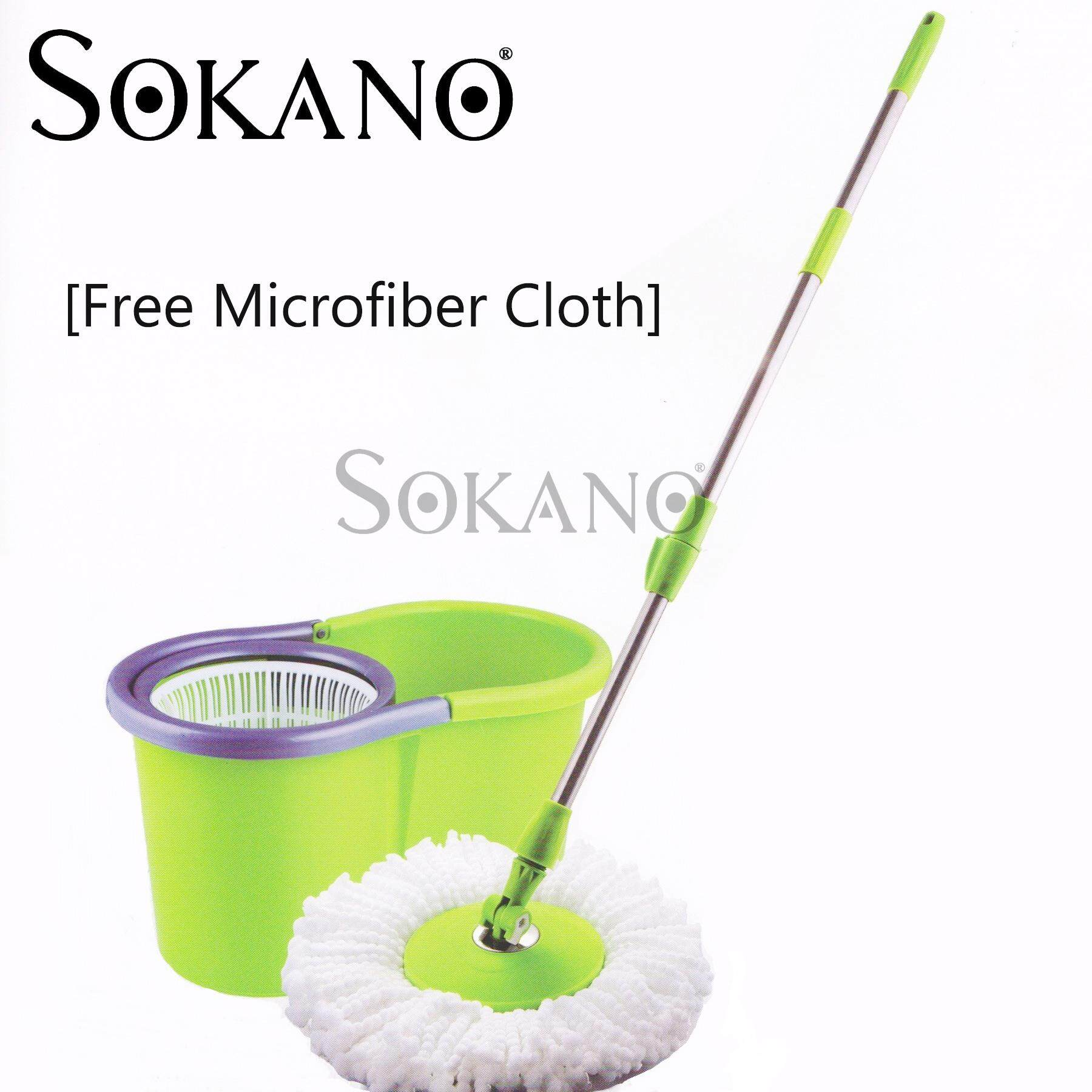 (RAYA 2019) SOKANO Microfiber Spin Mop with Cleaner Bucket SM01 [Free Microfiber Cloth]