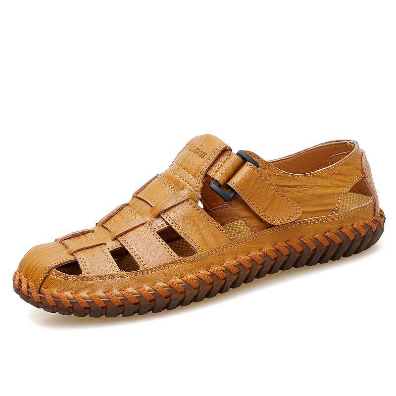 06dd3c4ee Bogo Men Shoes Genuine Leather Fashion Sandal Casual Outdoor Slippers for  Men Flat Vintage Shoes Kasut