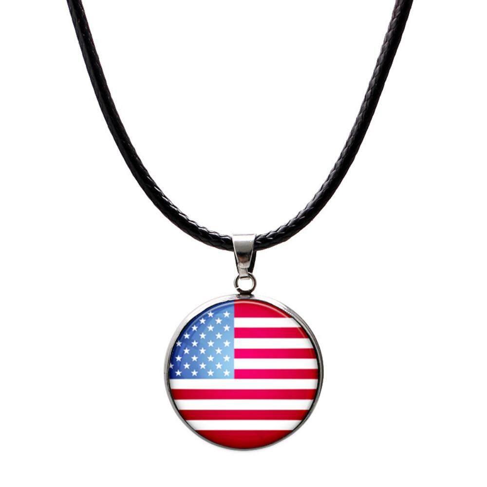 Hình ảnh vigo World Cup National Flag Jewelry Glass Cabochon Leather Chain Necklace Pendant Fashion Neck Women Men Gift