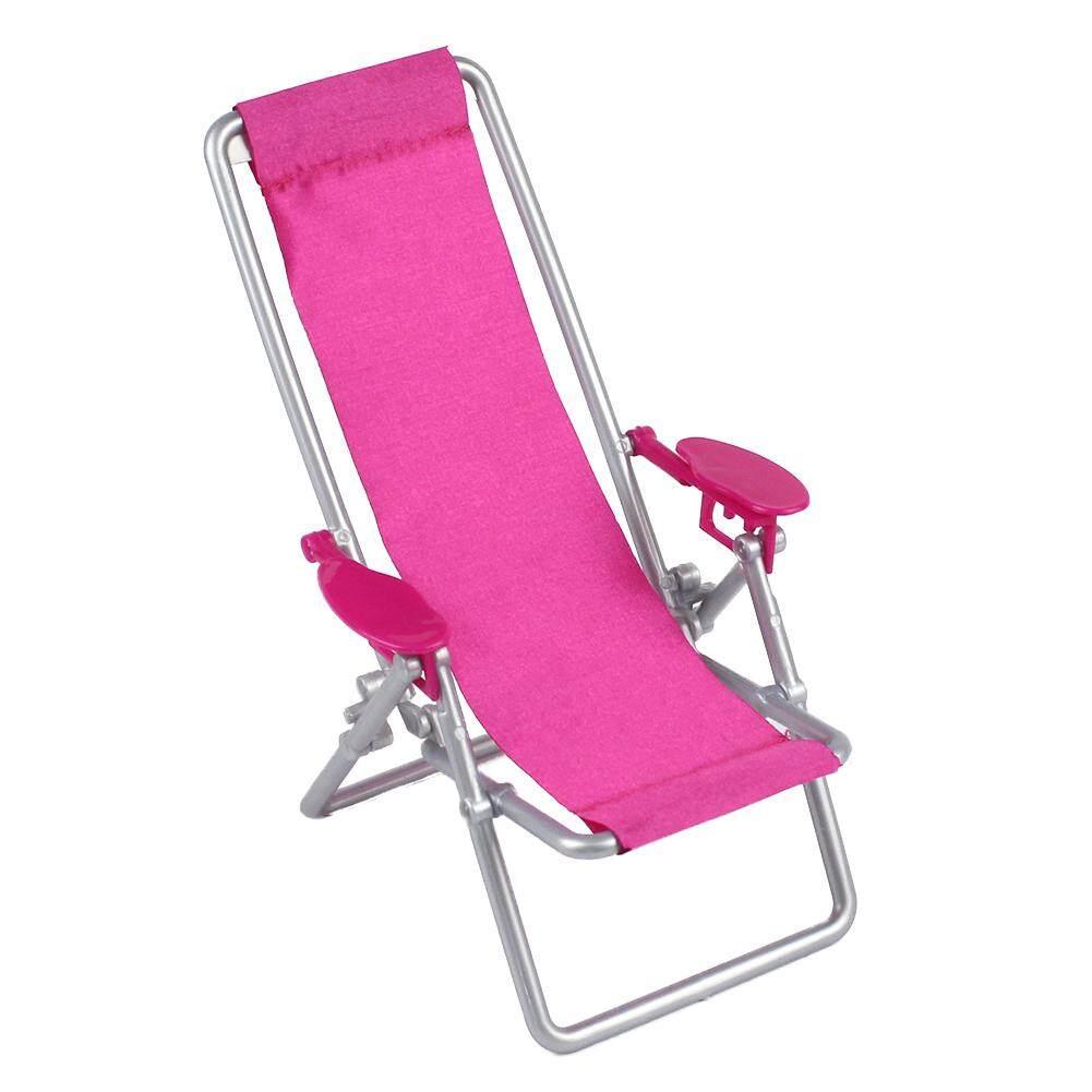 Dollhouse Furniture Foldable Deckchair Lovely Miniature Lounge Beach Chair for 11.5in Barbie Dolls