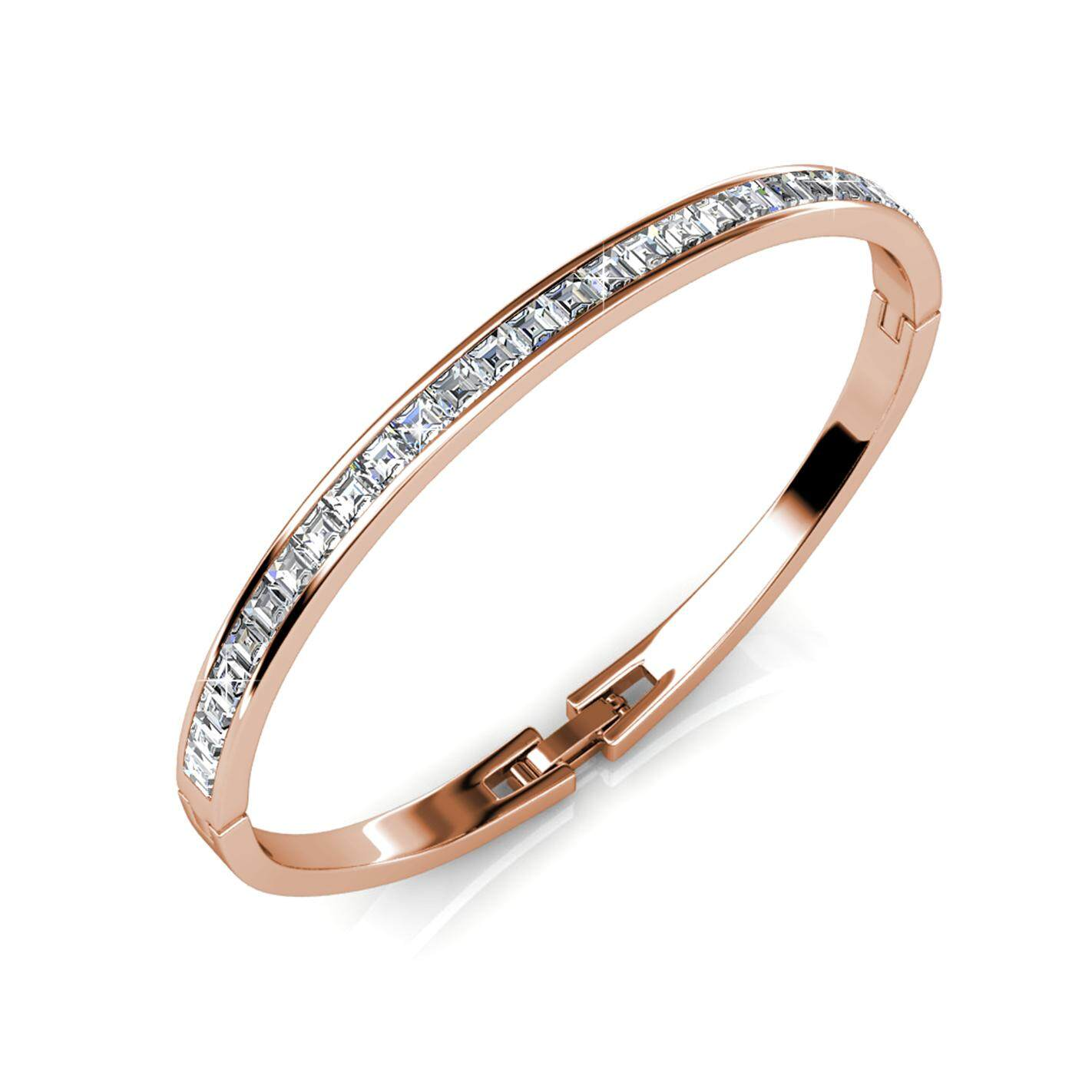Her Jewellery Chic Bangle (White / Rose Gold) embellished with Crystals from Swarovski