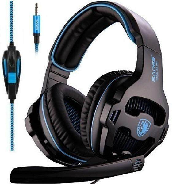 [2018 Baru Updated] SADES SA810 Headset Game Single 3.5 Mm Jack Di Telinga Gamer Headphone dengan Mikrofon dan PC Adaptor untuk baru Xbox 360/Xbox Satu/PS4/PlayStation 4 Laptop Telepon-Hitam Biru-Intl