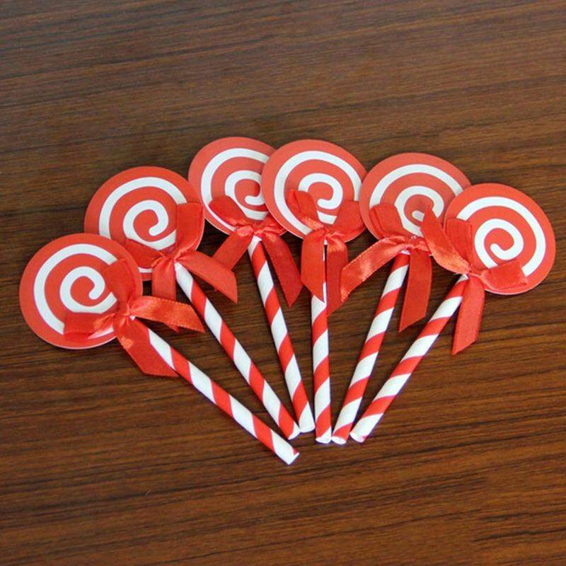 6 Pcs Linfang Sederhana Lovely Lollipop Pemodelan Dekorasi Kue Ulang Tahun Kartu
