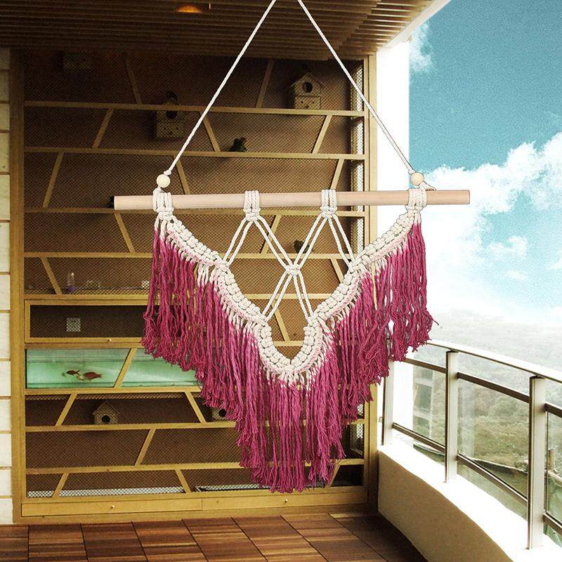 Detail Gambar Fashion Bohemian Macrame Woven Tassel Wall Hanging Handmade BOHO Home Decor Terbaru