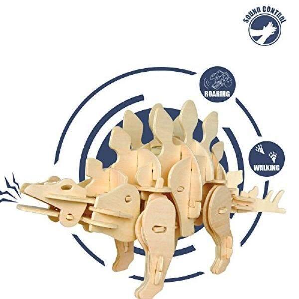 Rokr Dinosaurus Puzzle Kayu-Suara Dikendalikan Model Tiruan-Bangunan Perangkat Kerajinan-Hadiah Natal Ulang Tahun untuk Anak-anak dan Orang Dewasa-Intl