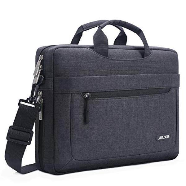 Mosiso Polyester Messenger Laptop Shoulder Bag for 11.6-13.3 Inch MacBook Air, MacBook Pro, Notebook Computer, Protective Briefcase Carrying Case with Adjustable Depth at Bottom, Black - intl