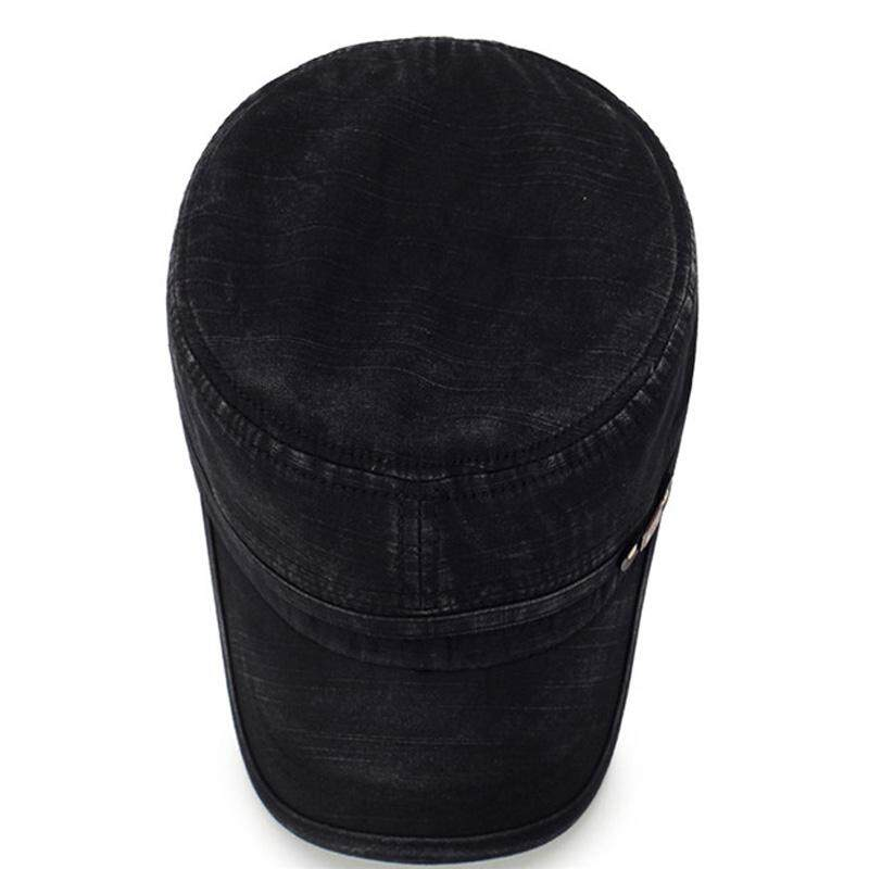 Mens Washed Cotton Flat Top Hat Outdoor Sunscreen Military Army Peaked Dad Cap .