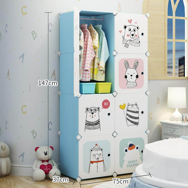 RuYiYu - Portable Kids Wardrobe Closet Children Dresser Hanging Storage Rack Clothes Closet Bedroom Armoire Cube Organizer Formaldehyde-Free Furniture