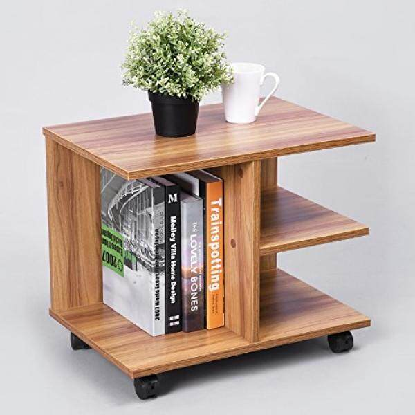 GreenForest Modern Bedside End Table, Nightstand with Storage Shelf and Lockable Wheel for Bedroom, Walnut - intl