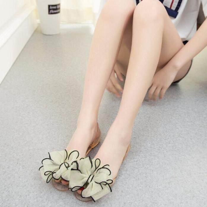 Female Plastic Beach Shoes Jelly color Flower Flat Casual Sandals NY 40