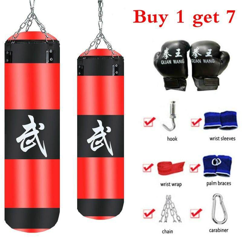 100 Cm 7 Pcs Set Training Fitness Mma Boxing Punching Bag Empty Sport Kick Sandbag