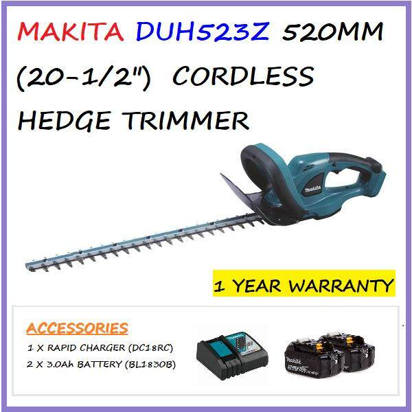 MAKITA DUH523Z CORDLESS HEDGE TRIMMER C/W 2 X 3.0 Ah BATTERY & 1 X CHARGER