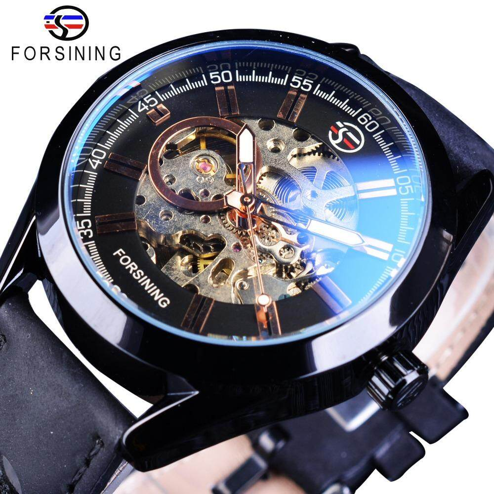 Forsining GMT1019-10 Blue Hardlex Glass Black Leather Transparent Open Work Mechanical Men Automatic Watches Top Brand Luxury Gear Movement Malaysia