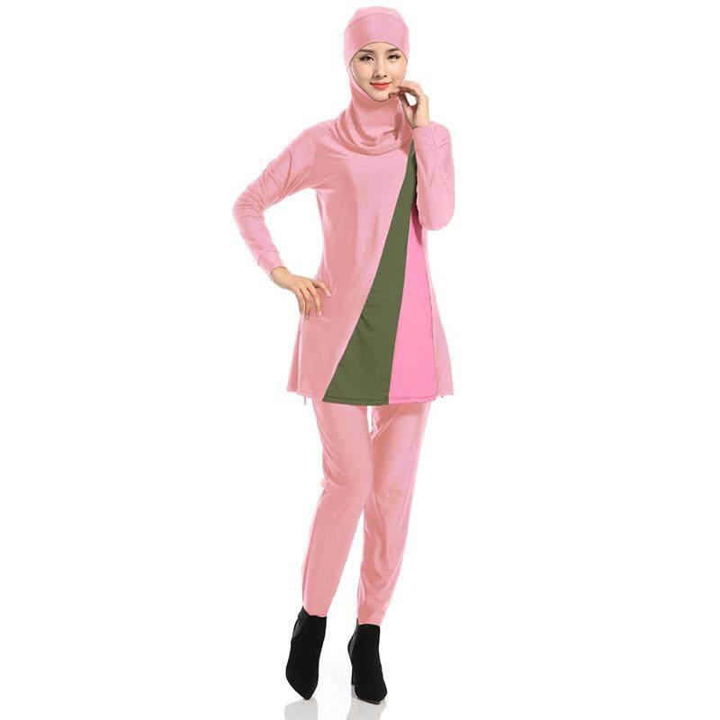 Ycrown Wanita Plus Ukuran Baju Renang Muslim Pantai Mandi Setelan Muslimah Baju Renang Islami Berenang Berselancar Memakai Merah Muda XXXXL-Internasional
