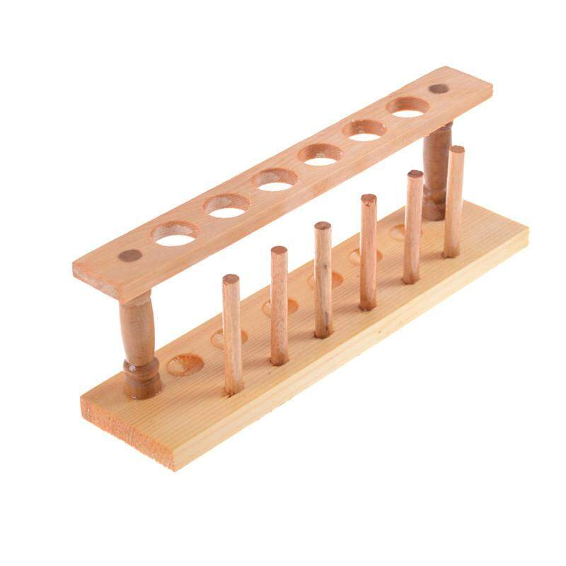 6 Hole Wooden Test Tube Rack For Storage Chemistry Lab Medical Research Supplies nhập khẩu
