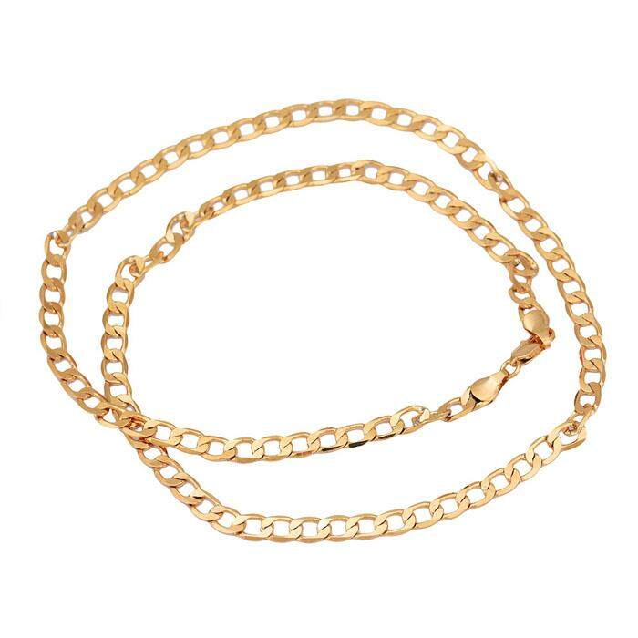 New Fashion MEN Stainless Steel Gold Cuban Curb Link Chain Necklace - intl