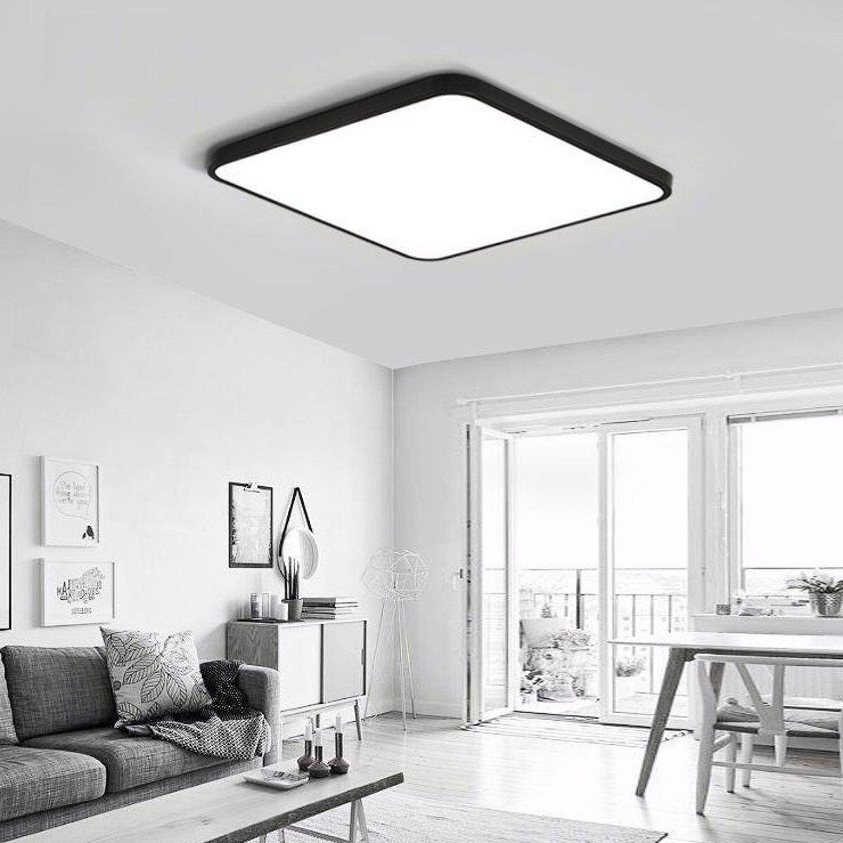 Bright 24W Square LED Ceiling Down Light Panel Wall Kitchen Bathroom Lamp # Black white light - intl