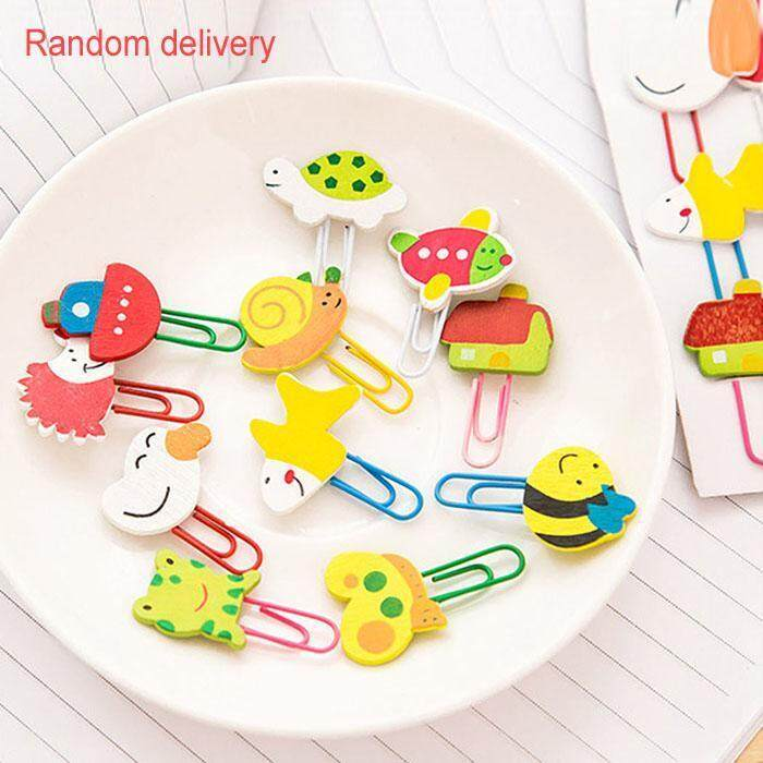 Toprank 12pcs Wodden Cute Cartoon Characters Paper Clip Bookmark Stationery School Office Supply .