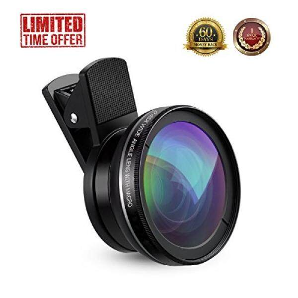 MAUI 2 n 1 0.45X Super Wide Angle Lens & 10X Macro Lens, Universal Professional HD Camera Clip On Cell Phone Lens for iPhone 5 6 7, Samsung Galaxy Android & Most Smartphones, Tablets and Computers