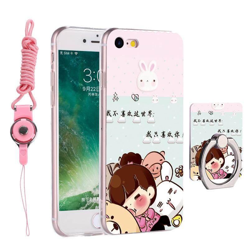 tpu pereda lukis telepon case dengan lingkaran penahan tali penyandang silikon lembut sampul belakang untuk apple iphone 7 plus 8