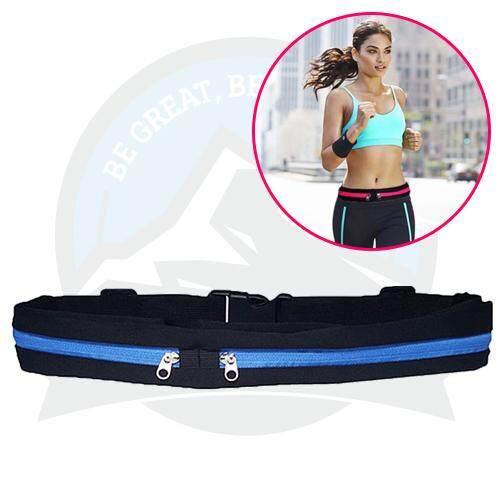 Outdoor Sports Riding Running Belt Jogging Belt Double-Zip Pockets Waist Belt Phone Bag - Blue