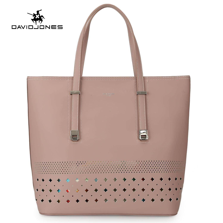 53e362452 DAVIDJONES women shoulder bag pu leather female crossbody bag large spring  hollow out lady handbag girl
