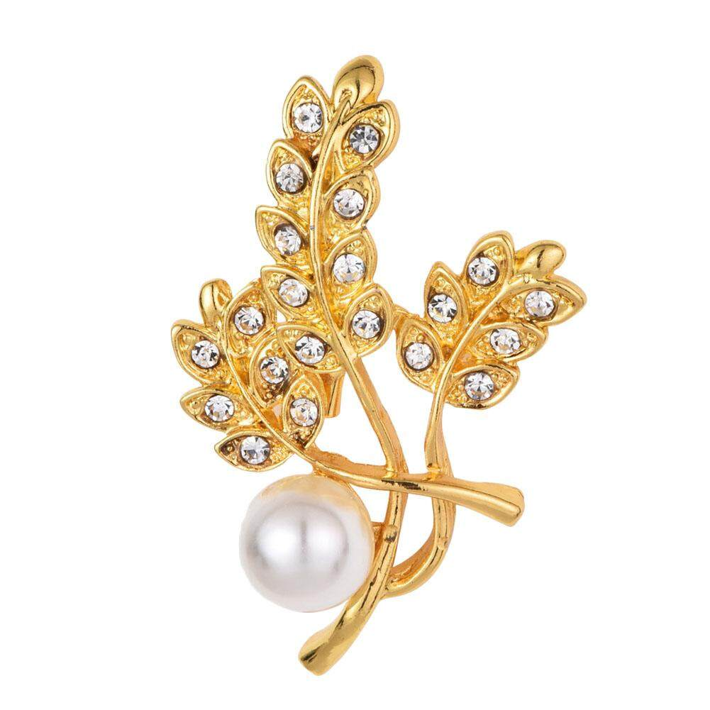 Linfang Wanita Temperamen Berlian Cantik Bentuk Daun Halus Bros Intan-Intl