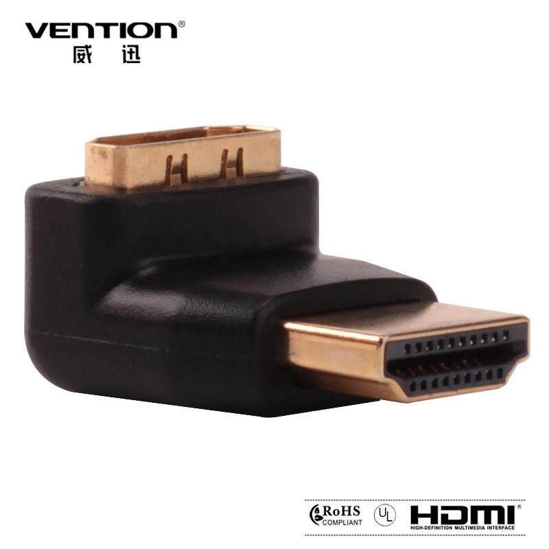 Vention H380HDFA 90 Derajat HDMI Pria untuk HDMI Betina Sudut Kanan Adaptor Ramping .