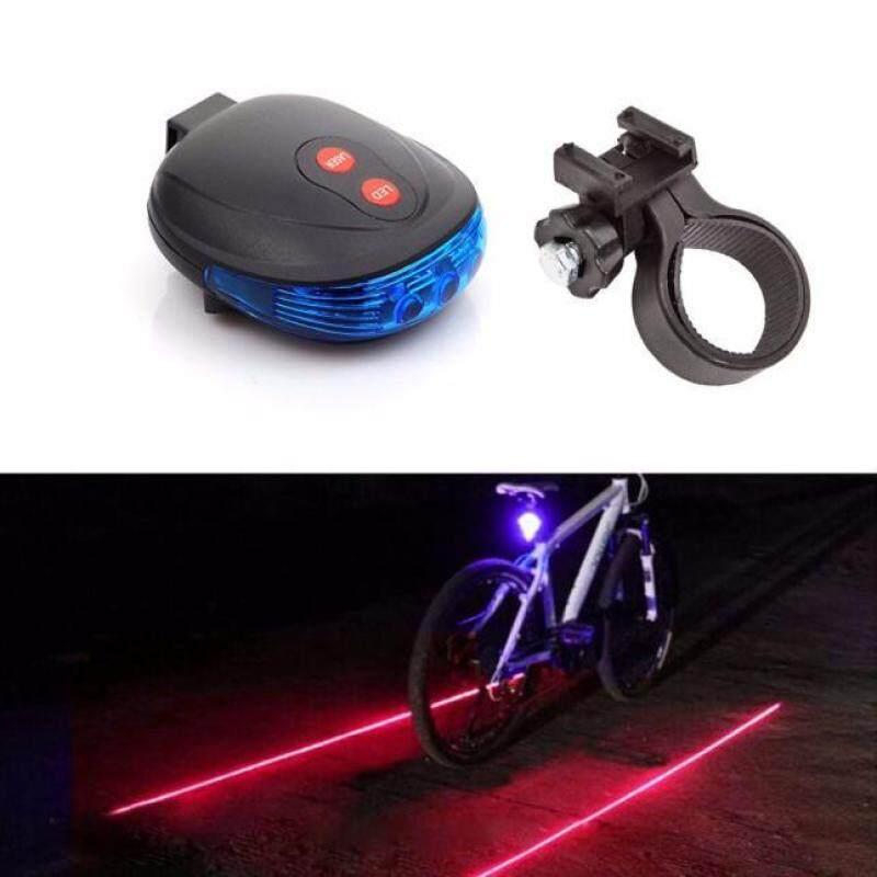 2 Laser + 5 LED Đèn Chớp Nháy Báo Động Đèn Hậu Đi Xe Đạp Xe Đạp An Toàn Đuôi Thiếc Màu Xanh