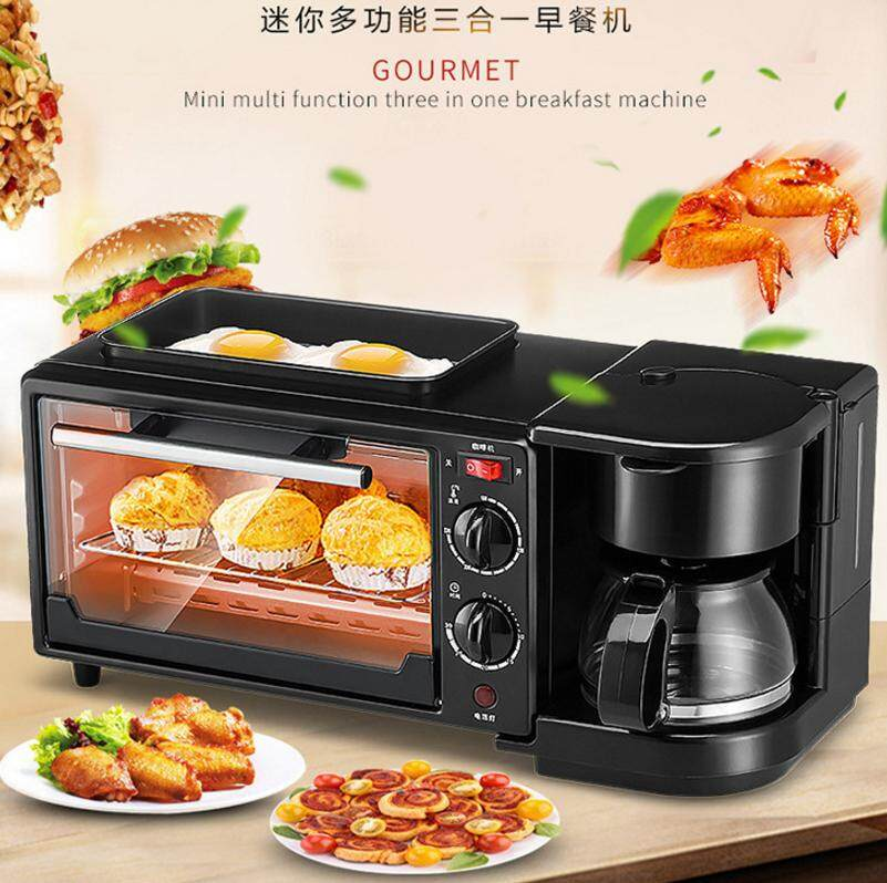 K&C Family Size Breakfast Center Toaster Oven Electric Frying Pan Griddle Pan CoffeeMaker 3 In 1 Breakfast Machine