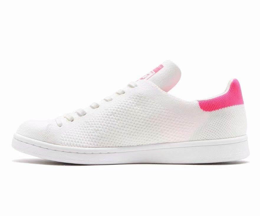 Adidas Women Originals Stan Smith Primeknit Shoe White pink BZ0115  UK3.5-6.5 04 8424fcee84
