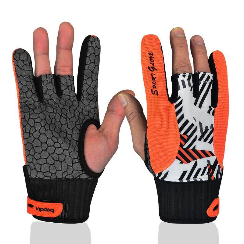 Professional Anti-Skid Bowling Gloves Comfortable Bowling Accessories Semi-Finger Instruments Sports Gloves Mittens - intl