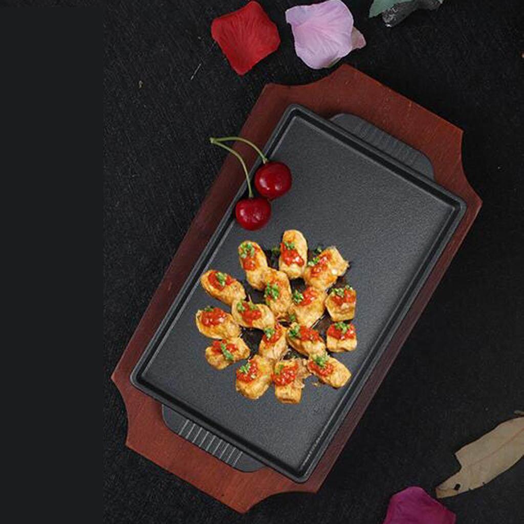 MagiDeal Cast Iron Girll Pan Japanese BBQ Pan Teppanyaki BBQ Serving Dishes Tray L
