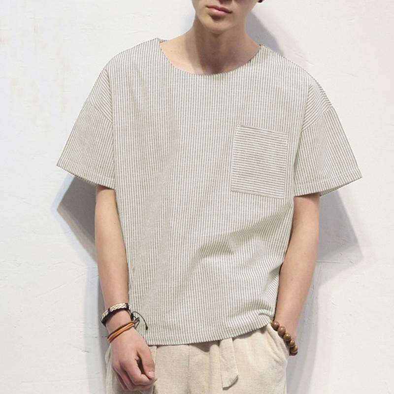 Best Reviews Of Incerun Chinese Mens O Neck Short Sleeve Cotton Linen Shirt Stripe Casual Loose Tee Tops Khaki Intl
