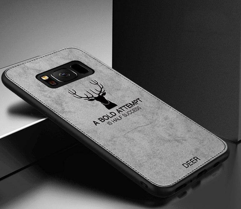 Luxuy Brand Cloth Texture Case Deer Soft Cases for Samsung Galaxy S8 Cloth Casing Elk Back Cover for Samsung Galaxy S8 Housing