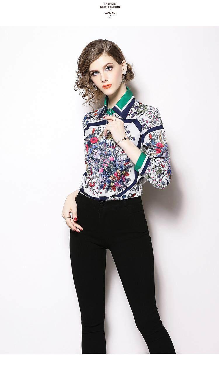 Women Chiffon Shirts New Elegant Vintage Printed Slim Long sleeved Lapels Blouses Shirts Womens Tops Feminine Blouse
