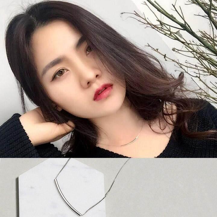 【3 rantai kata # kalung - berlapis dengan emas putih nyata】bagian pendek sederhana dan elegan chic mahasiswa Korea Selatan di jaringan kreatif Red tide Ms. rantai klavikula rantai leher kalung neckband