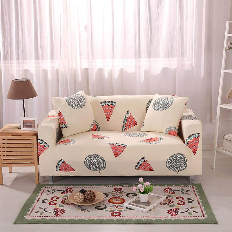 Sheleep 2 Seater Fashion Reactive Printed Sofa Cover Hight Stretch Couch Cover Sofa Slipcovers